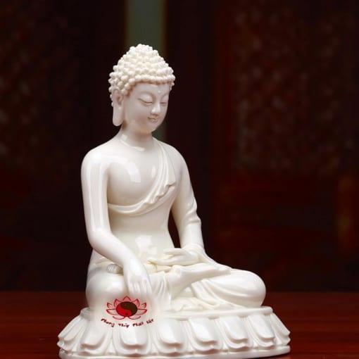 tượng phật thích ca mâu ni bằng sứ trắng 3