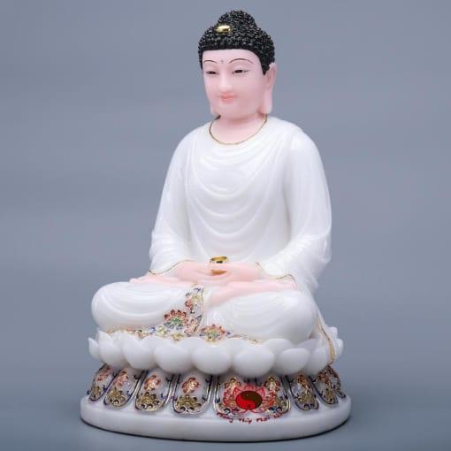 tượng phật thích ca màu trắng ngồi tòa sen 2