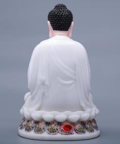 tượng phật thích ca màu trắng ngồi tòa sen 3