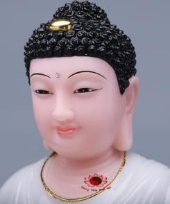 tượng phật thích ca màu trắng ngồi tòa sen 4
