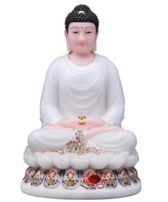 tượng phật thích ca màu trắng ngồi tòa sen 6