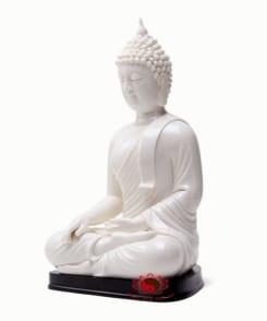 tượng phật thích ca ngồi màu trắng 3