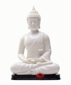 tượng phật thích ca ngồi màu trắng 4