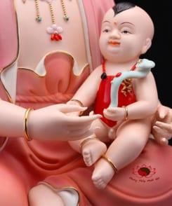 tượng quan âm tống tử màu hồng 4