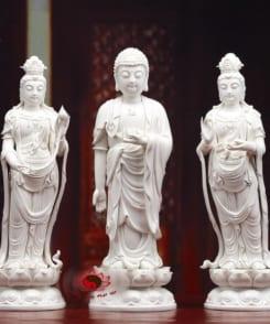 tượng sứ tây phương tam thánh đứng tòa sen 4