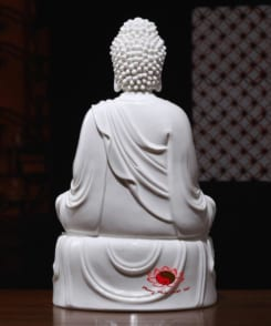 tượng sứ trắng a di đà ngồi tòa sen 3