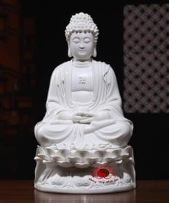 tượng sứ trắng a di đà ngồi tòa sen 4
