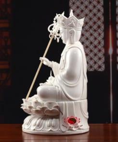 tượng sứ trắng đức địa tạng vương ngồi 3