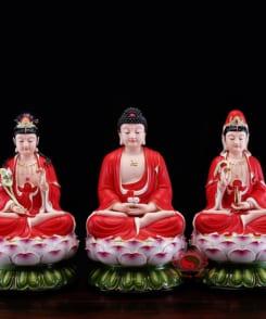 tượng tây phương tam thánh màu đỏ 4