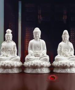 tượng tây phương tam thánh màu trắng 4