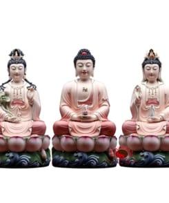 tượng tây phương tam thánh ngồi màu hồng 7