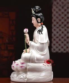 tượng tây phương tam thánh ngồi màu trắng 6