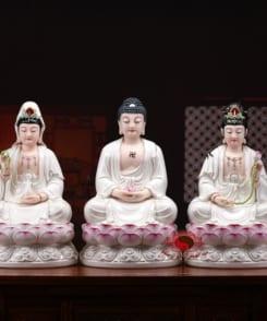tượng tây phương tam thánh ngồi màu trắng 7
