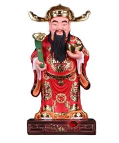 tượng thần tài quan lộc đứng màu đỏ 5