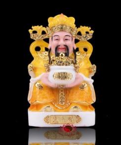 tượng thần tiền màu vàng bằng đá cẩm thạch 4