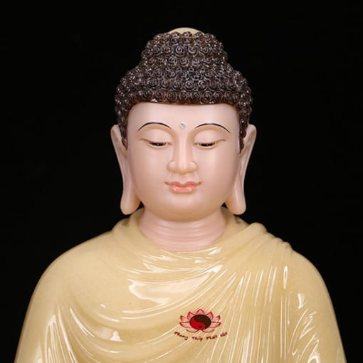 tượng thích ca ngồi bằng đá cẩm thạch màu vàng 2