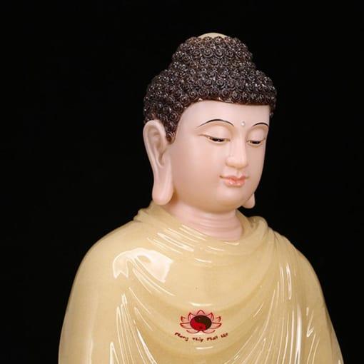 tượng thích ca ngồi bằng đá cẩm thạch màu vàng 3