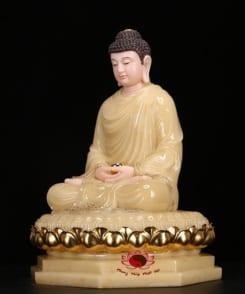 tượng thích ca ngồi bằng đá cẩm thạch màu vàng 4