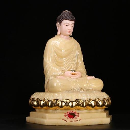 tượng thích ca ngồi bằng đá cẩm thạch màu vàng 5