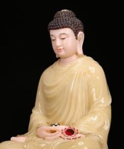 tượng thích ca ngồi bằng đá cẩm thạch màu vàng 6