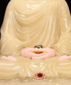 tượng thích ca ngồi bằng đá cẩm thạch màu vàng 7