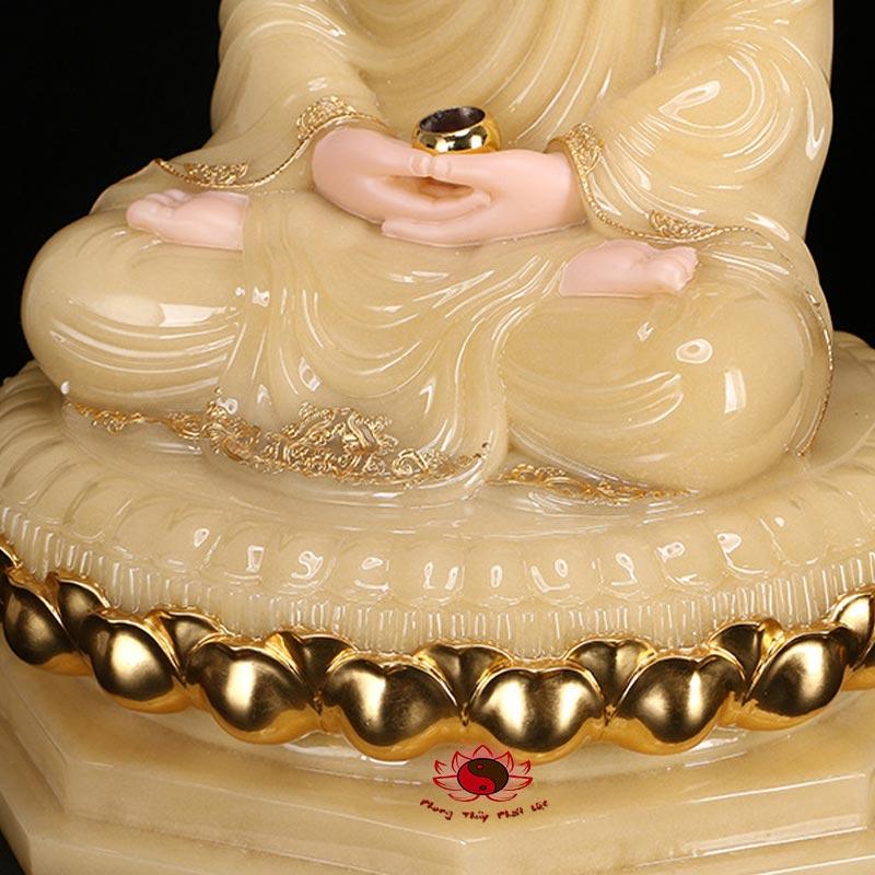 tượng thích ca ngồi bằng đá cẩm thạch màu vàng 8