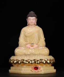 tượng thích ca ngồi bằng đá cẩm thạch màu vàng 9