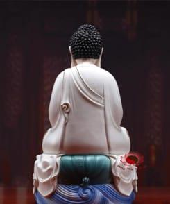 tượng thờ a di đà ngồi tòa sen màu trắng 3