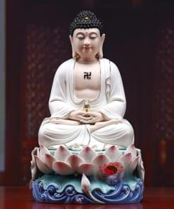 tượng thờ a di đà ngồi tòa sen màu trắng 4