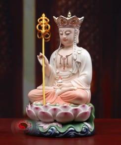 tượng thờ đức địa tạng ngồi tòa sen bằng gốm 8
