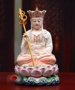 tượng thờ đức địa tạng ngồi tòa sen bằng gốm 9