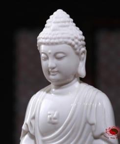 tượng thờ phật a di đà bằng sứ trắng 4