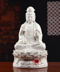tượng thờ phật bà đại thế chí màu trắng 4