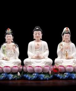 tượng thờ tây phương tam thánh màu trắng 4
