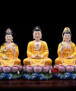 tượng thờ tây phương tam thánh màu vàng 4