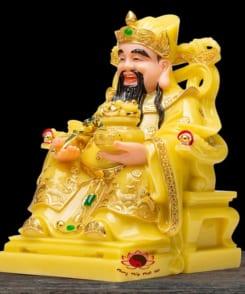 tượng thờ thần tiền màu vàng ngọc cẩm thạch 6
