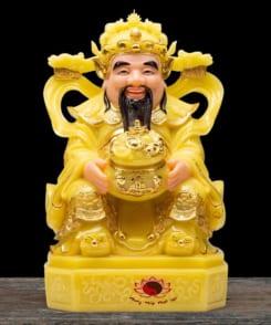 tượng thờ thần tiền màu vàng ngọc cẩm thạch 7