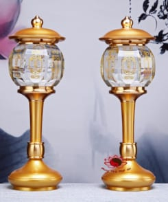cặp đèn thờ bằng đồng pha lê 6