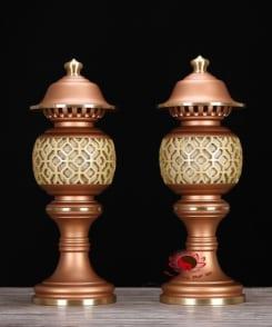 cặp đèn thờ trước phật bằng đồng 5