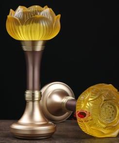 đèn thờ hoa sen lưu ly bằng đồng 4
